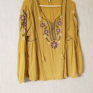 Yellow and purple tunic top